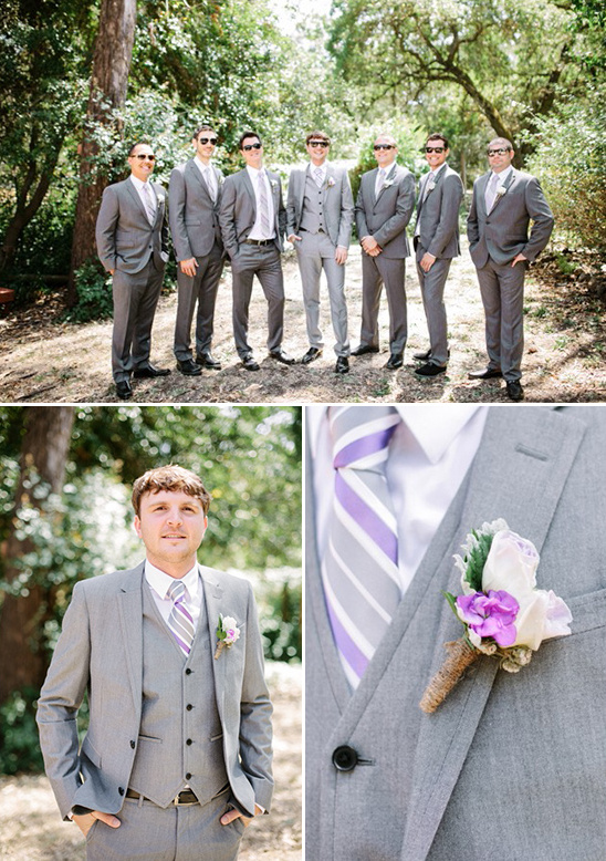 grey and purple groomsmen attire