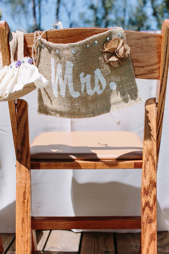 burlap mrs chair sign
