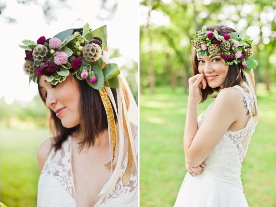 purple and gold floral crown