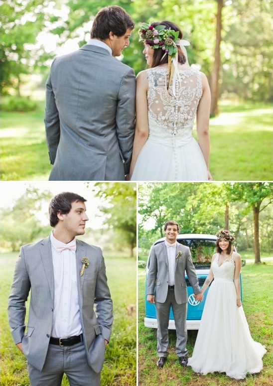 grey suit pink bow tie groom look
