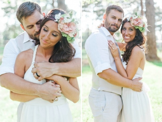 just married moments and floral crown
