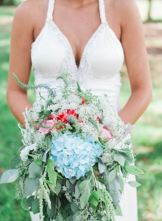 blue bloom and greenery bouquet