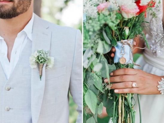 bridal accessories and groom boutonniere