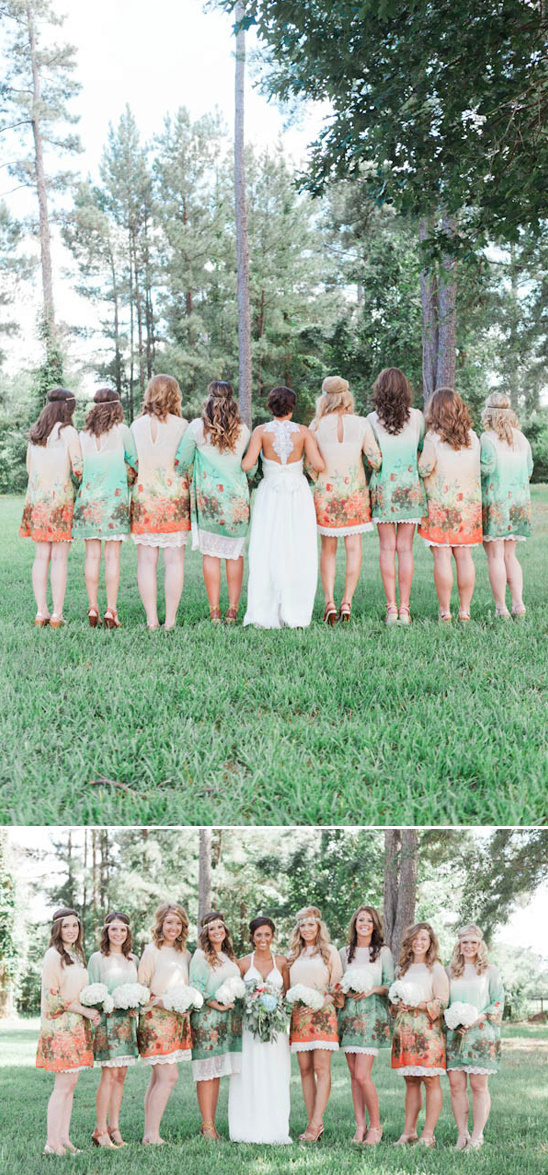 mint and peach boho bridal party