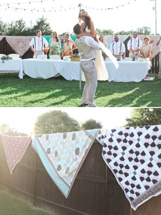 first dance and quilt drapped fence