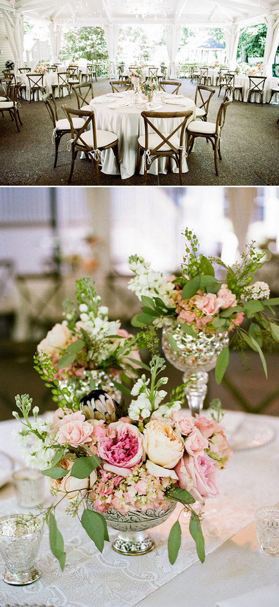 cream pink and peach floral centerpieces