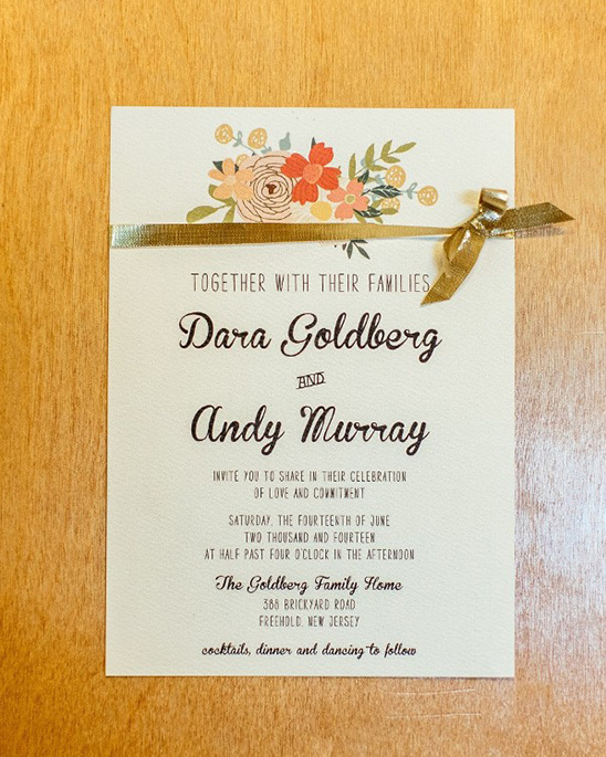 gold and coral wedding stationery