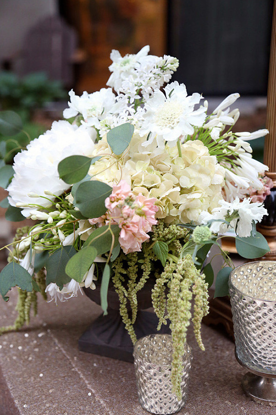 white and cream flower centerpiece