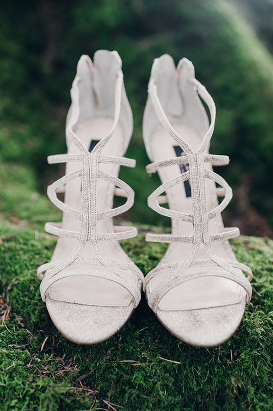 strappy silver wedding heels
