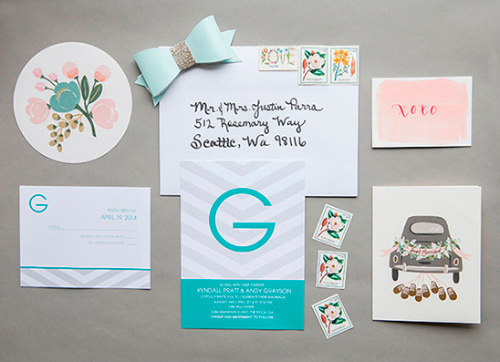 grey teal and blush wedding stationery