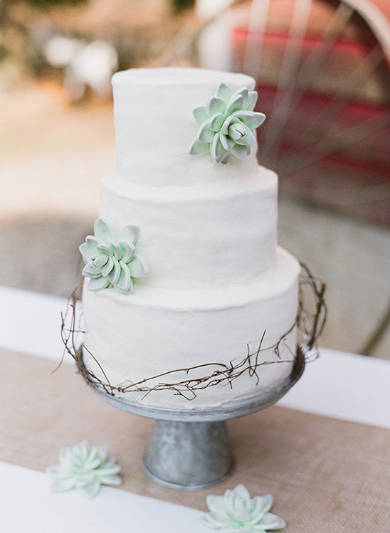 succulent decorated wedding cake