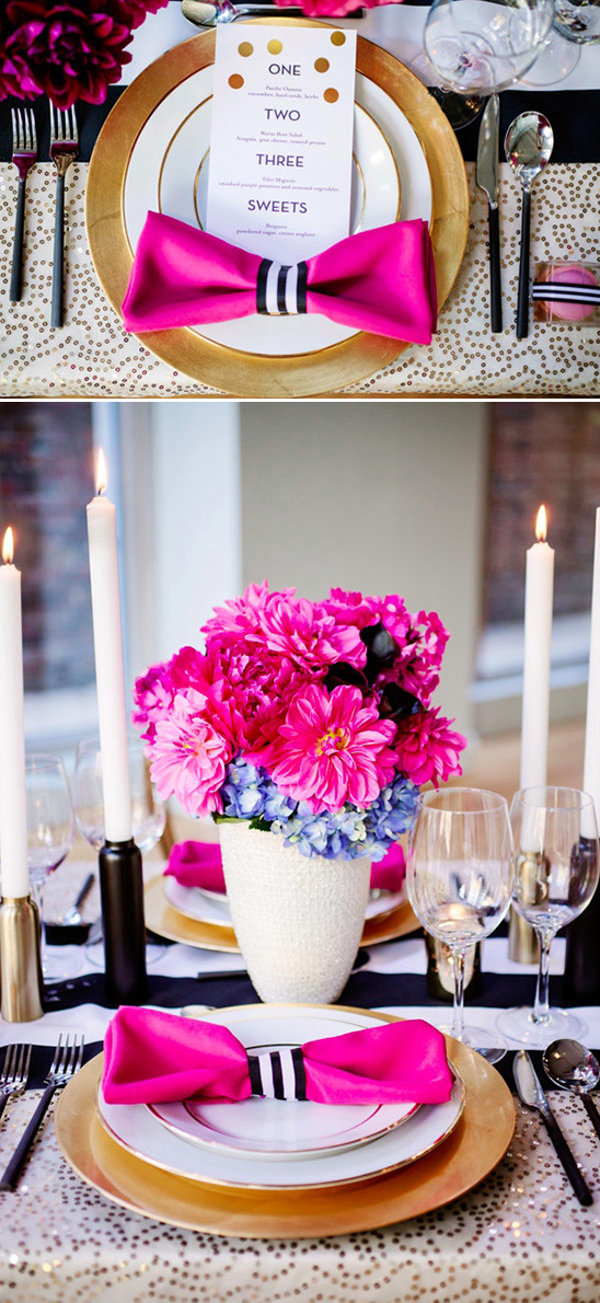 pink bow tie napkins and gold dot menu