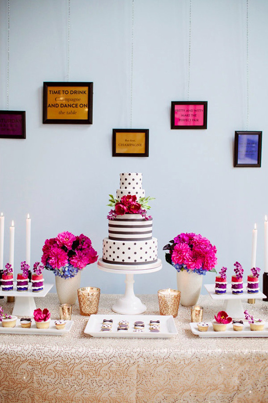 modern bright dessert table idea