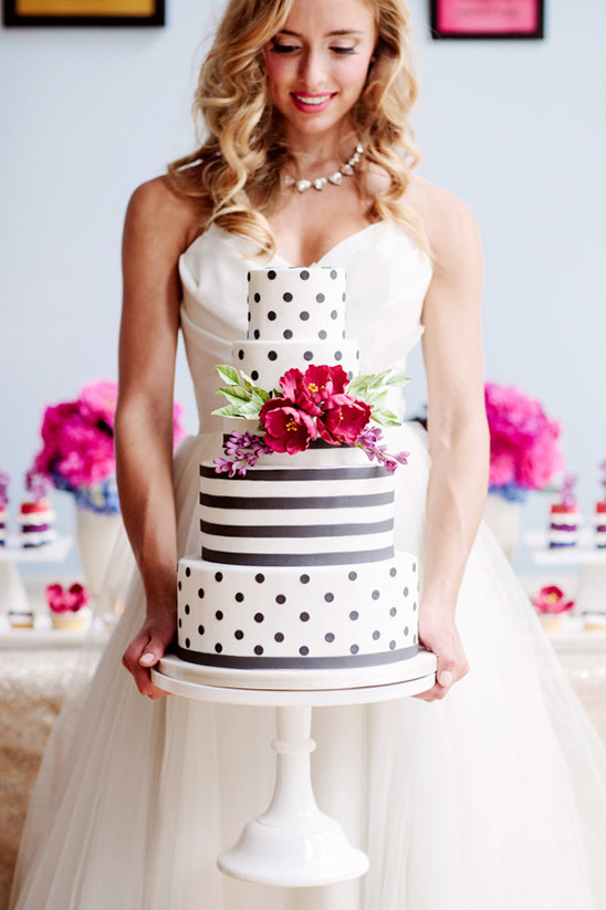 stripe and polka dot cake