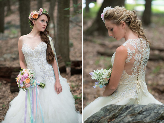 bead and lace gown details