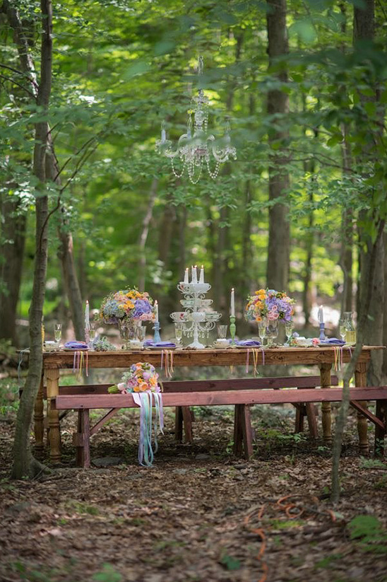 pastel forest wedding reception