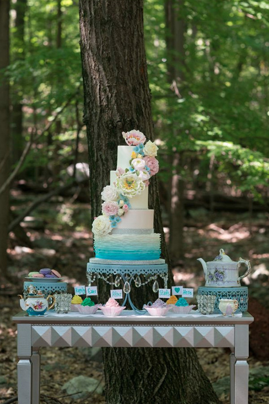 pastel dessert table with teacup accents