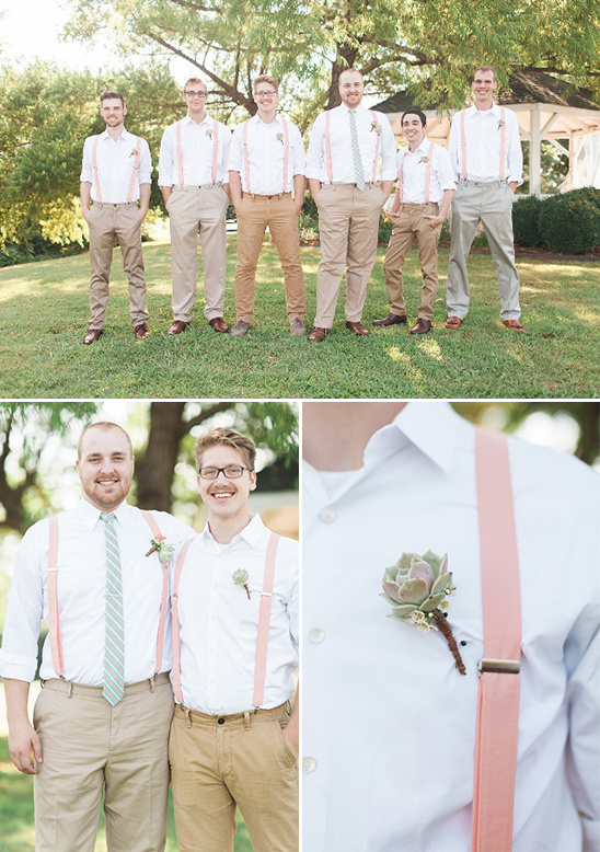 suspenders and succulent boutonniere