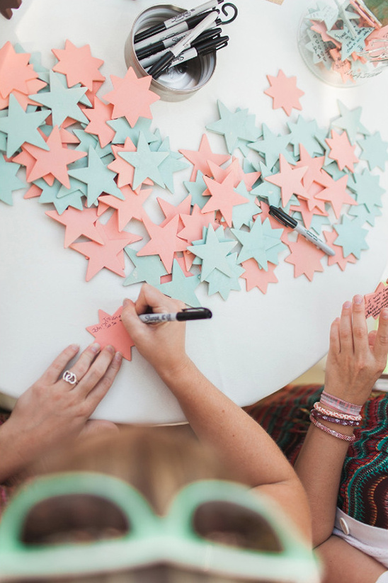 peach and mint stars guestbook