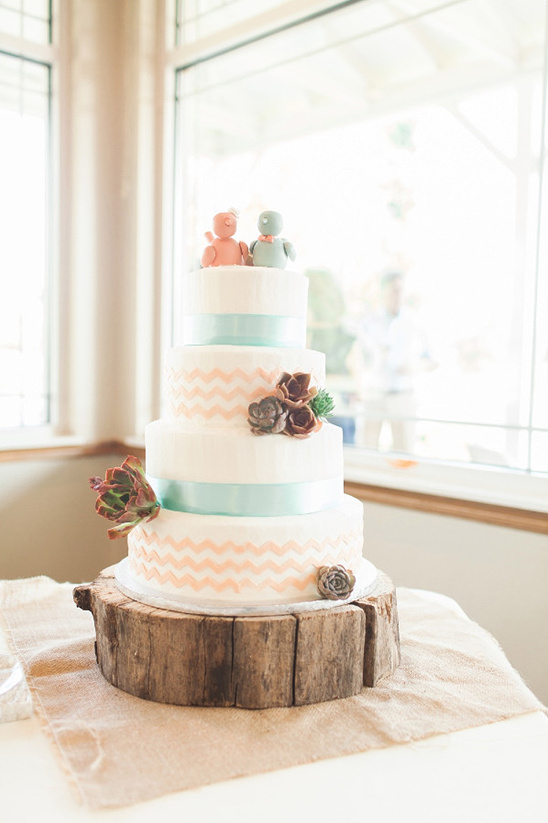 blush and mint chevron cake