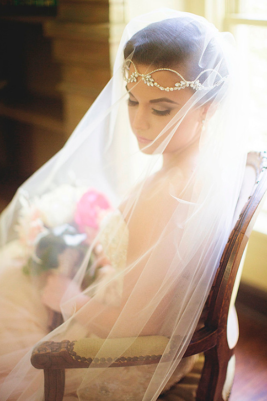 sparkling headpiece and veil