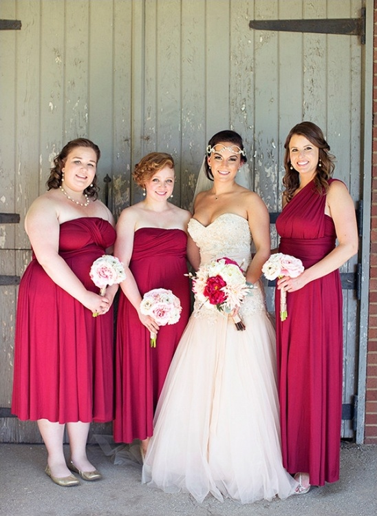 bridesmaids in deep red