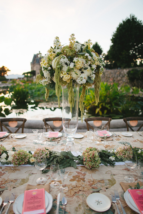 tall standing greenery and white bloom centerpiece