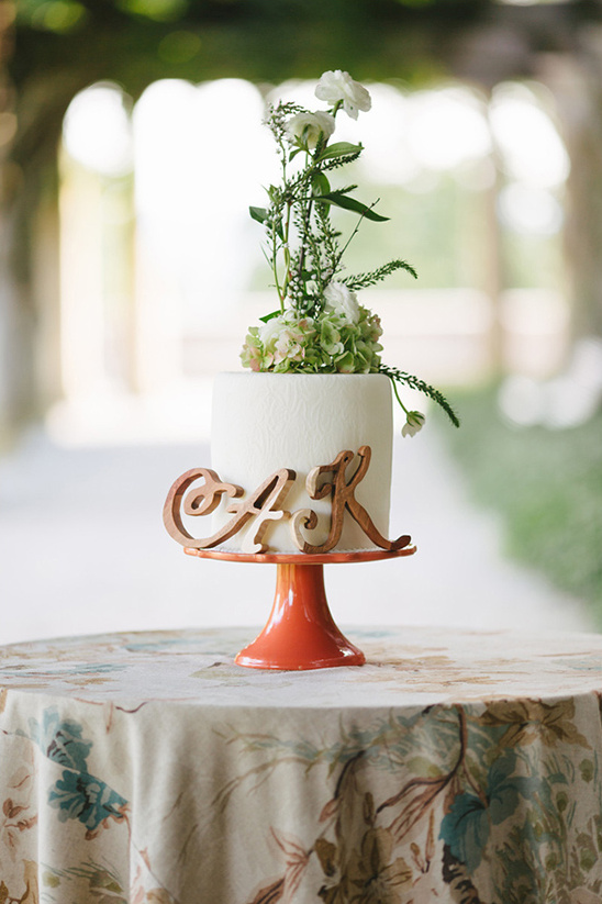 green floral cake topper