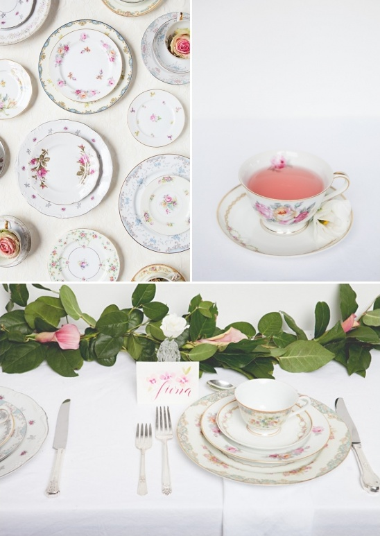 mix and matched china with pink tea