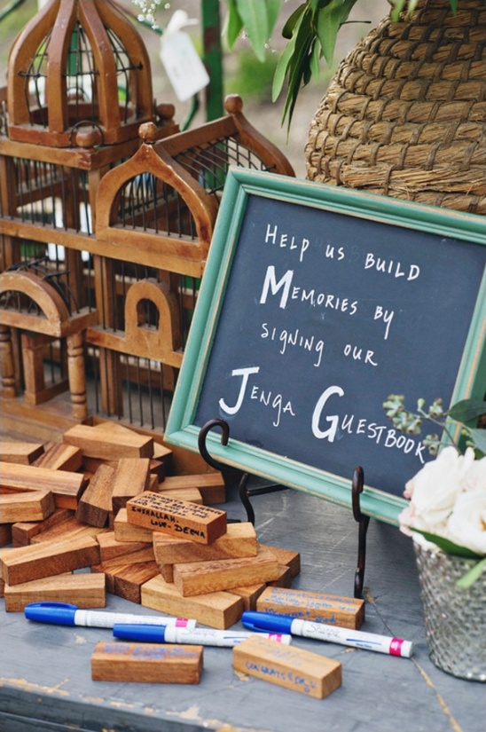 help us build memories by signer our jenga guestbook