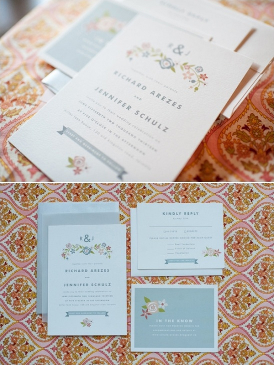 grey and floral wedding invites