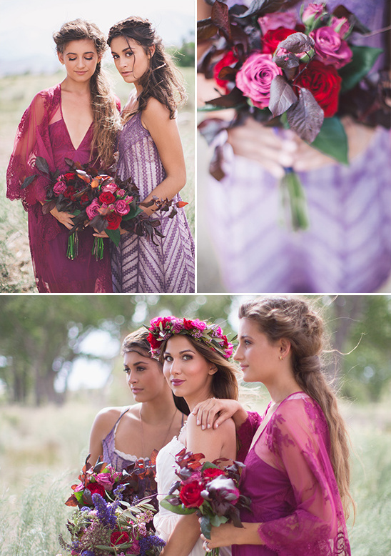 purple and burgandy bridesmaids
