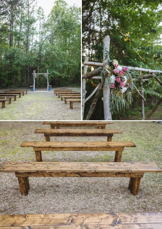 Wooden Bench Ceremony Seating And Rustic Wedding Arch. Backyard Wedding
