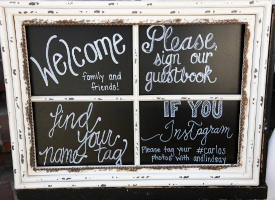 chalkboard window pane sign