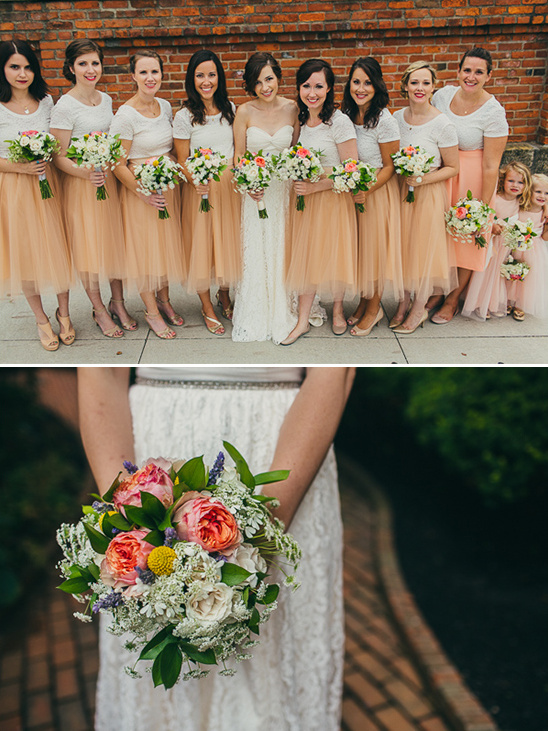 peach tulle bridesmaid dresses