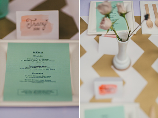 mint and peach place settings