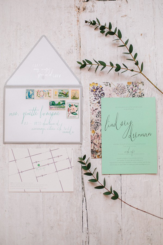 mint and floral pattern bridal shower invites