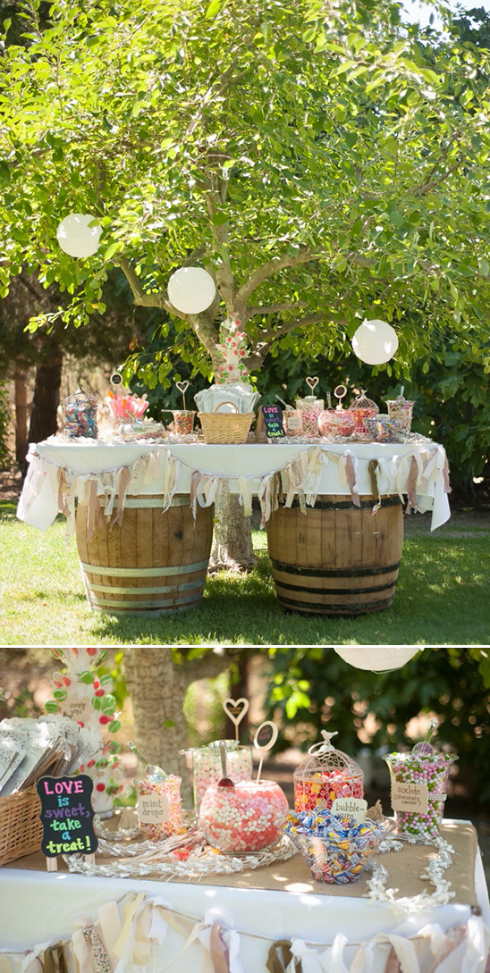 whiskey barrel sweets table - Shabby Chic Backyard Wedding