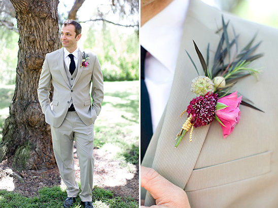 green and pink boutonniere