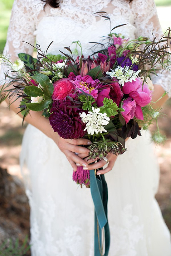 loose plum and pink wedding bouquet