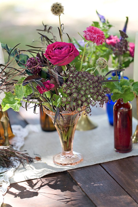 floral jewel tone centerpiece