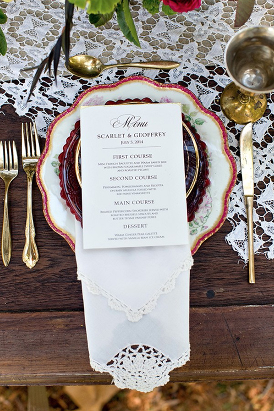 classic wedding menu idea