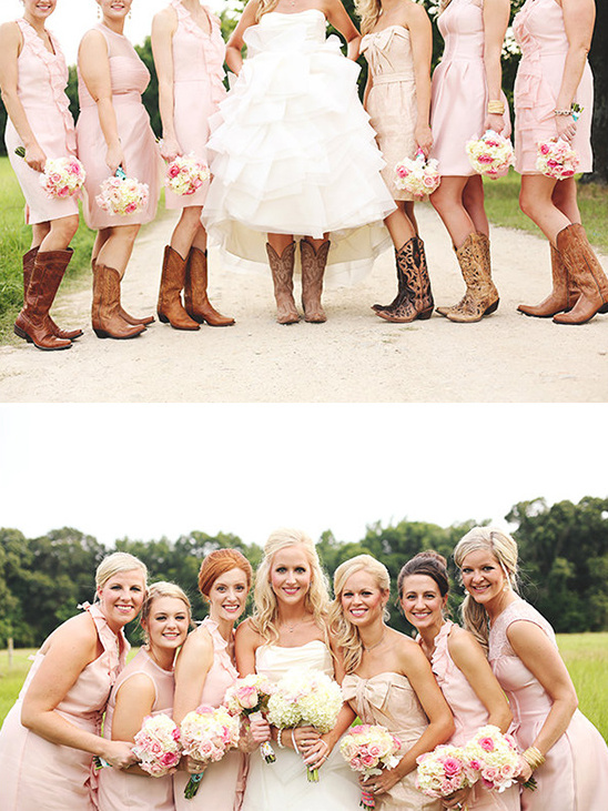short pink dresses and cowboy boots