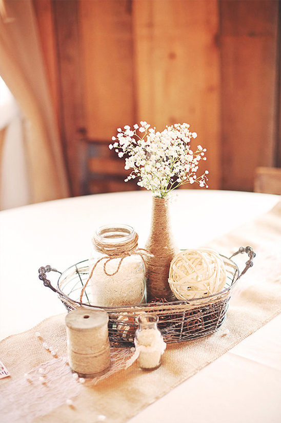 burlap and twice centerpiece