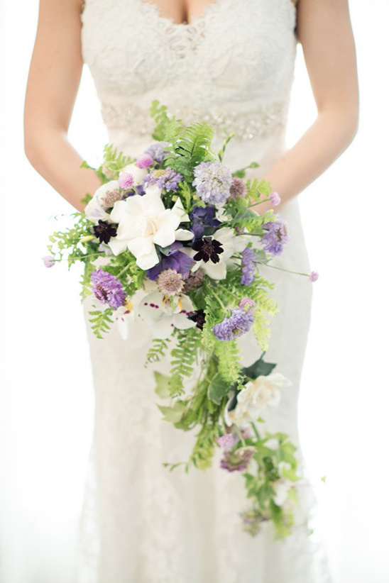 white purple and green bouquet