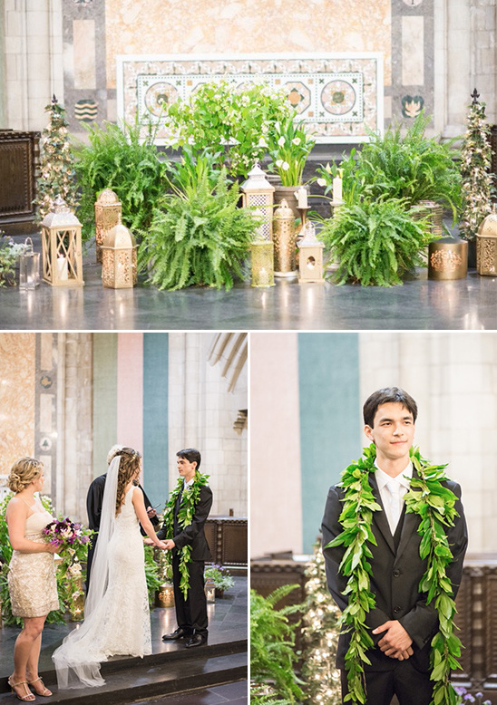 plants and lantern ceremony backdrop