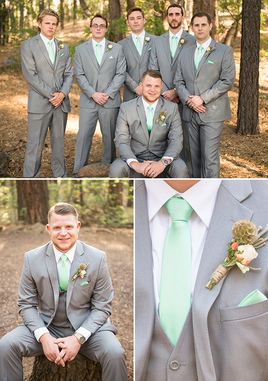 gray, mint and gray groomsman outfits