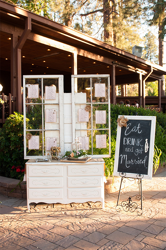 shabby chic reception entrance with window seating chart