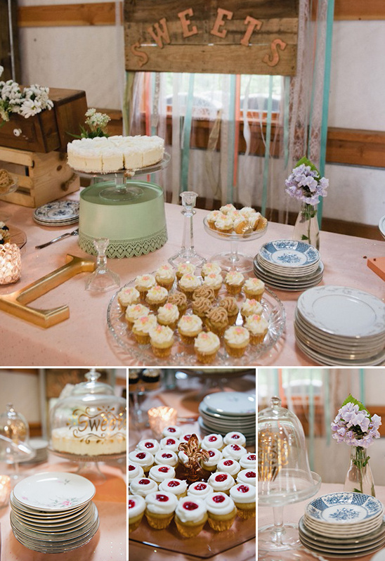 sweets table with antique pastry stands
