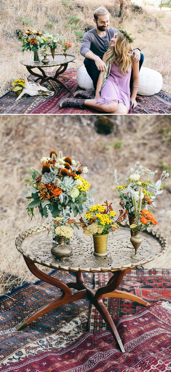 vintage table with floral centerpieces